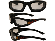 Birdz Oriole Flame Design Motorcycle Glasses with Clear Shatterproof Anti-Fog Polycarbonate Lenses and Wind Blocking Foam 9SIA2070P30815