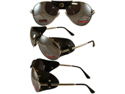 Aviator with Leather Eye Guards and Silver Frame and Mirror Lenses
