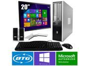 HP Compaq 7800 PC Windows 8.1 Pro Desktop Core 2 Duo 2.0GHz 8GB 160GB 20 LCD HD