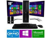HP Compaq 8000 PC Win 8 Pro Desktop Core 2 Duo 3.0GHz 8GB 500GB Dual 19 LCD HD