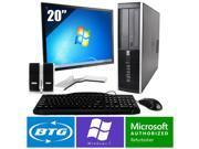HP Compaq 8000 PC Windows 7 Pro Desktop Core 2 Duo 3.0GHz 8GB 500GB 20 LCD HD
