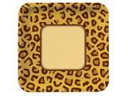 Animal Print Leopard Square Banquet Dinner Plates (8)