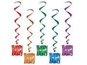 Happy Birthday Whirls Multi colored