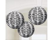 Zebra Print Round Paper Lanterns - Paper