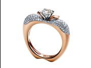 18k Rose Gold Apple Diamond Ring (0.93 Cttw)-12