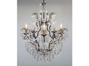 """New! Wrought Iron & Crystal Chandelier Chandeliers H27"""" x W21"""""""