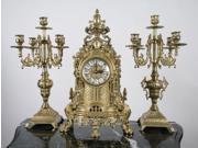 Solid Brass Baroque Mantel Clock & Candelabra Set Made in Italy!