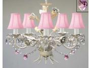 WHITE IRON CRYSTAL CHANDELIER LIGHTING W/ PINK CRYSTAL HEARTS & SHADES! - PERFECT FOR KID'S AND GIRLS BEDROOM!