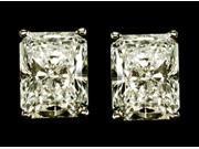 3 carat radiant diamond stud earring pair gold new