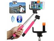 2 in 1 Handheld Wireless Bluetooth Selfie Monopod Stick Tripod with Remote Button - Pink