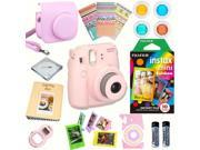Fujifilm Instax Mini 8 (Pink) Deluxe kit bundle Includes: - Instant camera with Instax mini 8 instant films 10 pack (Rainbow) - Custom Camera Case - instax Phot
