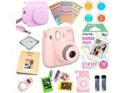 Fujifilm Instax Mini 8 (Pink) Deluxe kit bundle Includes: - Instant camera with Instax mini 8 instant films 10 pack (Stripe) - Custom Camera Case - instax Photo