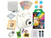 Fujifilm Instax Mini 8 (White) Deluxe kit bundle Includes: - Instant camera with Instax mini 8 instant films 10 pack (Rainbow) - Custom Camera Case - instax Pho