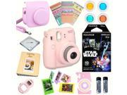 Fujifilm Instax Mini 8 (Pink) Deluxe kit bundle Includes: - Instant camera with Instax mini 8 instant films 10 pack (Star Wars) - Custom Camera Case - instax Ph