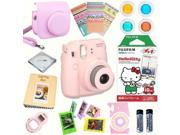 Fujifilm Instax Mini 8 (Pink) Deluxe kit bundle Includes: - Instant camera with Instax mini 8 instant films 10 pack (Hello Kitty) - Custom Camera Case - instax