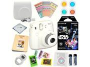 Fujifilm Instax Mini 8 (White) Deluxe kit bundle Includes: - Instant camera with Instax mini 8 instant films 10 pack (Star Wars) - Custom Camera Case - instax P