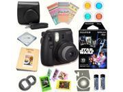 Fujifilm Instax Mini 8 (Black) Deluxe kit bundle Includes: - Instant camera with Instax mini 8 instant films 10 pack (Star Wars) - Custom Camera Case - instax P