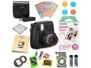 Fujifilm Instax Mini 8 (Black) Deluxe kit bundle Includes: - Instant camera with Instax mini 8 instant films 10 pack (Stripe) - Custom Camera Case - instax Phot