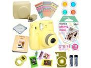 Fujifilm Instax Mini 8 (Yellow) Deluxe kit bundle Includes: - Instant camera with Instax mini 8 instant films 10 pack (Stripe) - Custom Camera Case - instax Pho