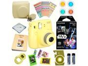 Fujifilm Instax Mini 8 (Yellow) Deluxe kit bundle Includes: - Instant camera with Instax mini 8 instant films 10 pack (Star Wars) - Custom Camera Case - instax