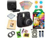 Fujifilm Instax Mini 8 (Black) Deluxe kit bundle Includes: - Instant camera with Instax mini 8 instant films 10 pack (Rainbow) - Custom Camera Case - instax Pho