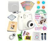 Fujifilm Instax Mini 8 (White) Deluxe kit bundle Includes: - Instant camera with Instax mini 8 instant films 10 pack (Stripe) - Custom Camera Case - instax Phot