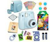 Fujifilm Instax Mini 8 Blue bundle: Instant camera + Instant Rainbow  Film + Accessories
