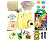 Fujifilm Instax Mini 8 (Yellow) Deluxe kit bundle Includes: - Instant camera with Instax mini 8 instant films 10 pack (Rainbow) - Custom Camera Case - instax Ph