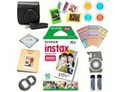 Fujifilm instax mini 8 accessories KIT BLACK includes - instant film 10 pack +  deluxe bundle for fujifilm instax mini 8 camera