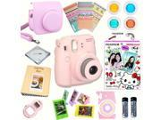 Fujifilm Instax Mini 8 (Pink) Deluxe kit bundle Includes: - Instant camera with Instax mini 8 instant films 10 pack (Hello Kitty 2016) - Custom Camera Case - in
