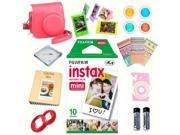 Fujifilm instax mini 8 accessories KIT RASPBERRY includes - instant film 10 pack +  deluxe bundle for fujifilm instax mini 8 camera
