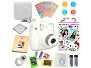 Fujifilm Instax Mini 8 (White) Deluxe kit bundle Includes: - Instant camera with Instax mini 8 instant films 10 pack (Hello Kitty 2016) - Custom Camera Case - i