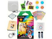 Fujifilm Instax mini 8 Film (Rainbow 10-PACK) + DELUXE Accessory KIT (White)