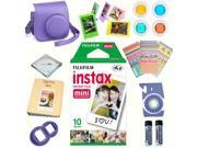 Fujifilm instax mini 8 accessories KIT GRAPE includes - instant film 10 pack +  deluxe bundle for fujifilm instax mini 8 camera