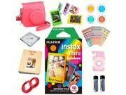 Fujifilm Instax mini 8 Film (Rainbow 10-PACK) + DELUXE Accessory KIT (Raspberry)