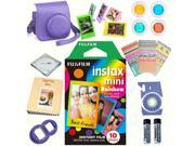 Fujifilm Instax mini 8 Film (Rainbow 10-PACK) + DELUXE Accessory KIT (Grape)