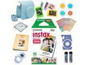 Fujifilm instax mini 8 accessories KIT BLUE includes - instant film 10 pack +  deluxe bundle for fujifilm instax mini 8 camera