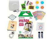 Fujifilm instax mini 8 accessories KIT WHITE includes - instant film 10 pack +  deluxe bundle for fujifilm instax mini 8 camera
