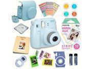 Fujifilm Instax Mini 8 Blue bundle: Instant camera + Instant Stripe  Film + Accessories