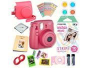 Fujifilm Instax Mini 8 Raspberry bundle: Instant camera + Instant Stripe  Film + Accessories