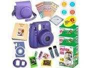 Fujifilm Instax Mini 8 (Grape) Deluxe kit bundle Includes: - Instant camera with Instax mini 8 instant films (60 pack) - A MASSIVE DELUXE BUNDLE (Over 30 + Pcs)