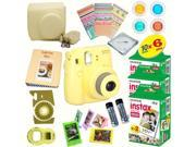 Fujifilm Instax Mini 8 (Yellow) Deluxe kit bundle Includes: - Instant camera with Instax mini 8 instant films (60 pack) - A MASSIVE DELUXE BUNDLE (Over 30 + Pcs