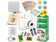 Fujifilm Instax Mini 8 (White) Deluxe kit bundle Includes: - Instant camera with Instax mini 8 instant films (60 pack) - A MASSIVE DELUXE BUNDLE (Over 30 + Pcs)