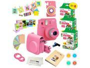 Fujifilm Instax Mini 9 (Flamingo Pink)  Deluxe kit bundle Includes -Instant camera with Instax mini 9 instant films (60 pack) - Custom Camera Case - instax Albu