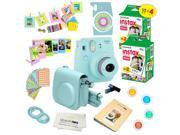 Fujifilm Instax Mini 9 (Ice Blue)  Deluxe kit bundle Includes -Instant camera with Instax mini 9 instant films (40 pack) - Custom Camera Case - instax Album – F