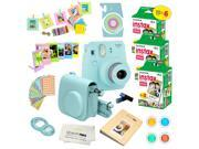Fujifilm Instax Mini 9 (Ice Blue)  Deluxe kit bundle Includes -Instant camera with Instax mini 9 instant films (60 pack) - Custom Camera Case - instax Album – F