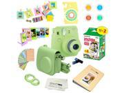 Fujifilm Instax Mini 9 (Lime Green)  Deluxe kit bundle Includes -Instant camera with Instax mini 9 instant films (20 pack) - Custom Camera Case - instax Album –