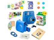 Fujifilm Instax Mini 9 (Cobalt Blue)  Deluxe kit bundle Includes -Instant camera with Instax mini 9 instant films (20 pack) - Custom Camera Case - instax Album
