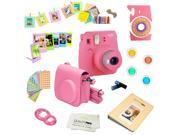 Fujifilm Instax Mini 9 (Flamingo Pink) Deluxe kit bundle Includes -Instant camera - Custom Camera Case - instax Album - Frames -Wall Hang Frames- Stickers - Clo