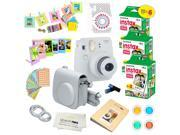 Fujifilm Instax Mini 9 (Smokey White)  Deluxe kit bundle Includes -Instant camera with Instax mini 9 instant films (60 pack) - Custom Camera Case - instax Album